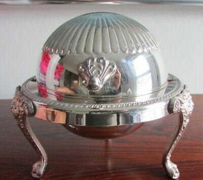 VINTAGE Rogers Silver Plate Caviar / Butter Domed Roll Top Server Lions Head