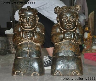 Rare antique Chinese natural old jade pure Hand carved tong boy girl statue Pair