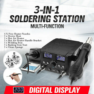 3-IN-1 LCD Solder Station Soldering Iron Desoldering Rework Hot Air Heater