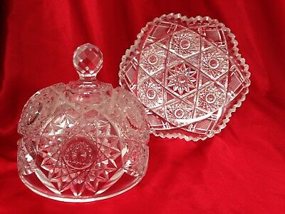 VTG American Brilliant Sharp Cut Crystal Stars Cheese Butter Dish w/ Dome Lid