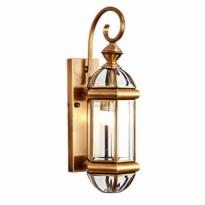 Antique 1 Light Solid Brass Frame Gaslight Wall Mounted Lantern Sconce Fixture
