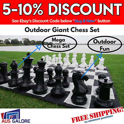 New Outdoor Giant Chess Set Nylon Mat And 32 Pvc Pieces Party Game Weather Proof