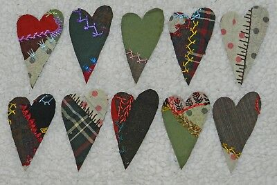 10 Primitive Antique Vintage Cutter Crazy Quilt Hearts! Crafts, Scrapbooking #17