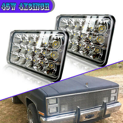 "LED 2Pcs DOT Approved 4''x6"" Headlights For Peterbilt Kenworth H4651 H4652 H4666"