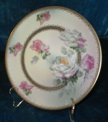 "Antique Pm Bavaria 8 1/2"" Plate Hand Painted Roses Gilt Pattern Fine Porcelain"