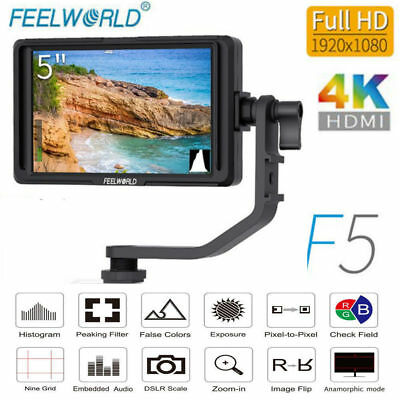 "Feelworld F5 5.0"" IPS 4K HDMI 1920x1080 Auxiliary Focus Camera Video Monitor GD"