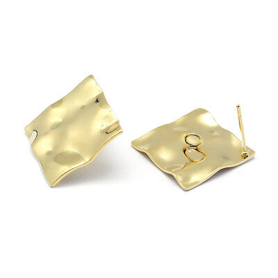 20pcs Brass Wavy Rhombus Earring Posts Gold Plated Nickel Free w/ Back Loop 25mm
