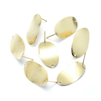 30pcs Gold Plated Brass Big Oval Earring Posts Bumpy Nickel Free Stud Loop 29mm
