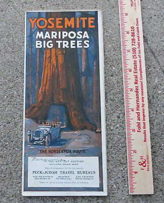 Vintage c 1925  Yosemite Mariposa Big Trees Horseshoe Route Color Brochure
