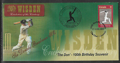 Grenada 2008 Wisden Cricket Sir Don Bradman Birth Centenary Cover