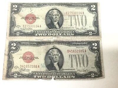 1928 G $2 Two Dollar Bill United States Legal Tender Red Seal Note Money
