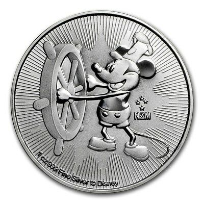 Lot of 2-Mickey Mouse Steamboat Willie 1 oz Silver $2-BU LIMITED 2017 Niue