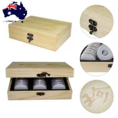 Coin Storage Box 30 Grid Wooden Commemorative Coin Collection Box Container