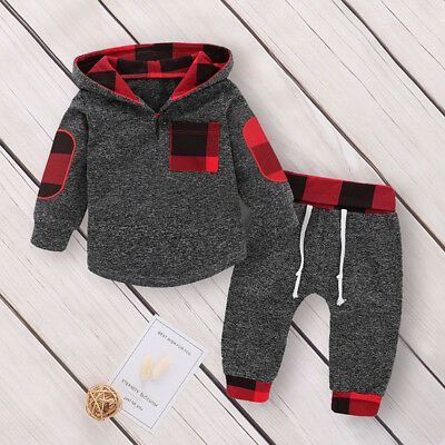 US Newborn Toddler Baby Boy Girl Autumn Winter Clothes Hooded Tops+Pants Outfits