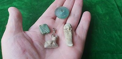 Egyptian Amulet Group Of Items X 4 Original 300 Bc