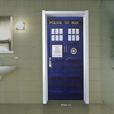 Blue Wall Decal Doctor Who TARDIS Door Graphic Unique Fathead-Style Sticker