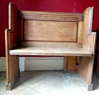 Solid Oak Church Pew Bench with Family Crest