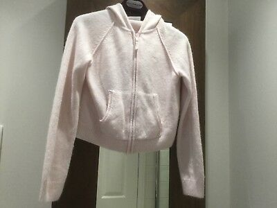 Girls 'THE LITTLE WHITE COMPANY' Baby Pink Hooded AngoraWool Cardigan.Age 11/12