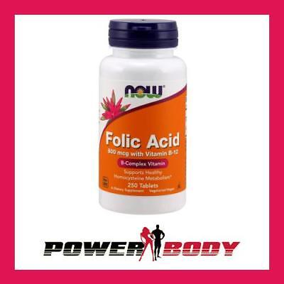 NOW Foods - Folic Acid with Vitamin B12, 800mcg - 250 tablets