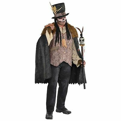 Adult Witch Doctor Costume Voodoo Halloween Mens Fancy Dress Outfit Plus Size