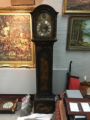 Antique Richard Finch 1750 Grandfather Clock Lacquered Wood, Vintage Wood Clock