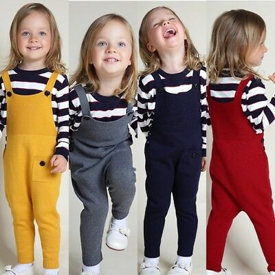 Toddler Kids Girls Knitted Cotton Dungaree Jumpsuit Playsuit Pants Outfits 1-5Y