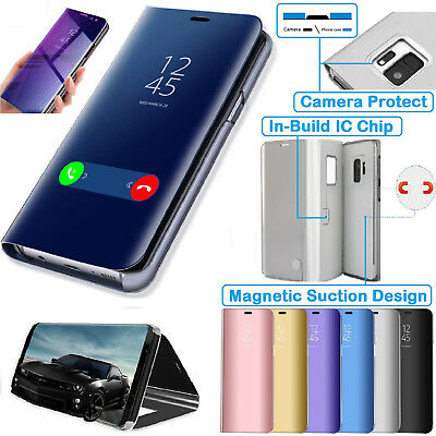 Smart View Mirror Flip Stand Case Cover For Samsung Galaxy J6 S8 S9 Plus Note 9