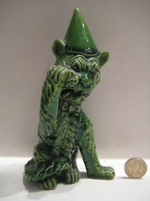 Aller Vale Devon Ware Pottery Louis Wain Dunce Grotesque Cat Crying Figurine