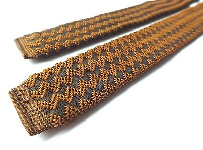 Vintage 1950s 1960s Skinny Knitted Neck Tie Brown and Bronze Zig Zag FREE P&P