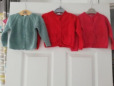 3 x Baby Girls Cardigans Mini Club Age 9-12 Months Great Condition