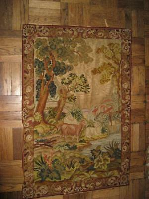 Antique French Scene Needlepoint Petit Point Tapestry Wall Hanging Pastoral