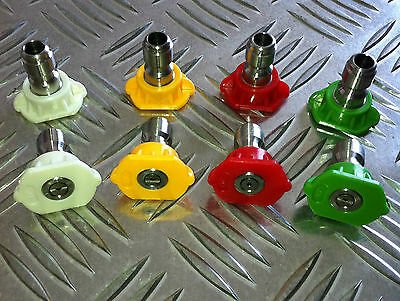 4x COLOURED QUICK RELEASE JET WASH NOZZLE TIP SET 0 - 15 - 25 - 40 degree spray