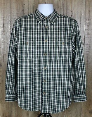Mens St Johns Bay Vintage Flannel Shirt Size M Green Check Long Sleeve Button