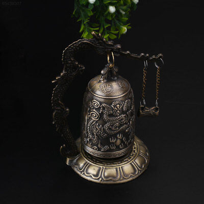 95F5 China Buddhism Temple Brass Copper Carved Statue Buddha Dragon Bell Clock