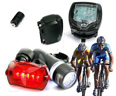 Bicycle Mountain Bike Cycle Lights Front/Rear With Computer Speedometer Kit