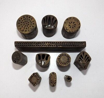 Old Brass Different Handcrafted Seal Dye Stamp Vintage Jali Cut Design Dye # 11