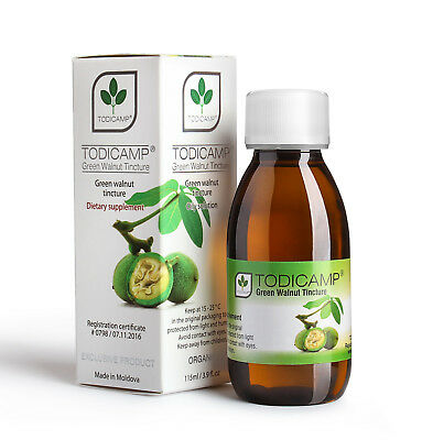 2 Bottles TODICAMP® Natural Green Walnut Tincture Directly from Producer.