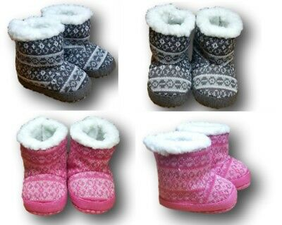 Baby Toddler Girls Knitted Warm Winter Slippers Shoes Booties Size 0-6m,6-12m