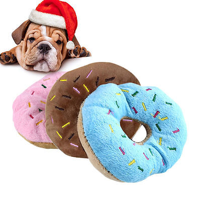 Round Donut Cute Dog Cat Puppy Pet Chew Play Squeaky Sound Food Plush Toys