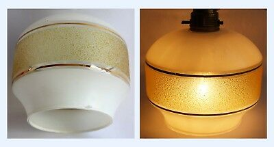 Vintage Mid Century 60's Small Light Lamp Shade Retro White Glass Gold Frosted