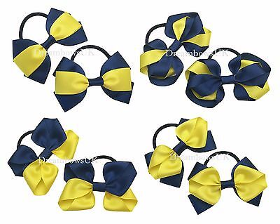 Navy blue and yellow school hair bows, school hair accessories, bobbles or clips
