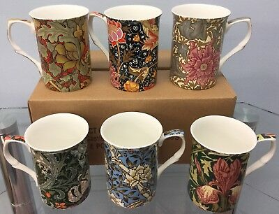 William Morris Collection Fine China Mugs Box Of 6