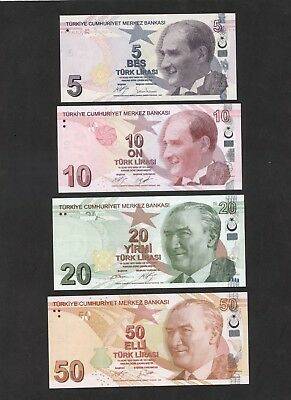 TÜRKEI Turkey 4 Banknoten LOT 5 + 10 + 20 + 50 Lira *Last issue - UNC