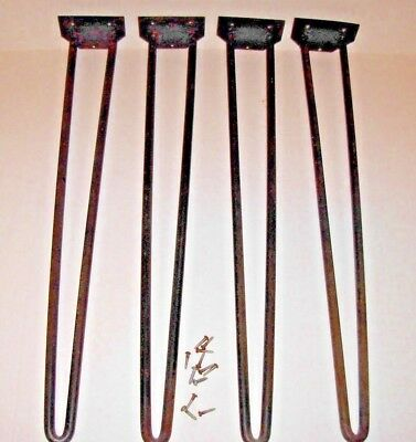"""4 Old Vtg Heavy Duty 24"""" Wrought Iron Hairpin legs 1/2"""" thick Mid Century Modern"""