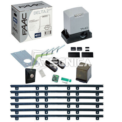 Kit  automated sliding gate FAAC DELTA 2 KIT 740 500 kg + 6m rack