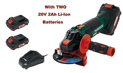 Parkside 20V Cordless Angle Grinder with TWO 2Ah Li-Ion Batteries Charger Case