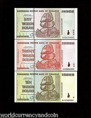 3 x Zimbabwe banknotes-10/20/50 Trillion Dollars-Paper money currency UNC AA