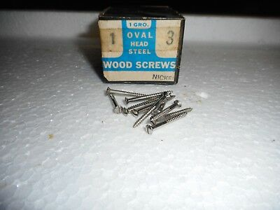 """#3 x 1"""" Oval Head Nickel Plated Wood Screws Slotted Made in USA  Qty. 144"""