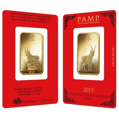 1 oz PAMP Suisse Year of the Goat Gold Bar (In Assay)