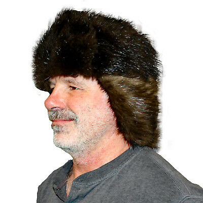 aeacc9a8f7e15 Glacier Wear Natural Black Beaver Fur Russian Trooper Hat hts1002